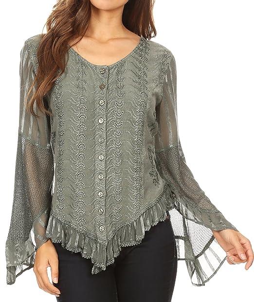 b884063c9d46 Sakkas Marga Womens Button Down Camicia a Maniche Lunghe Camicetta in Pizzo  Solid Simple  Amazon.it  Abbigliamento
