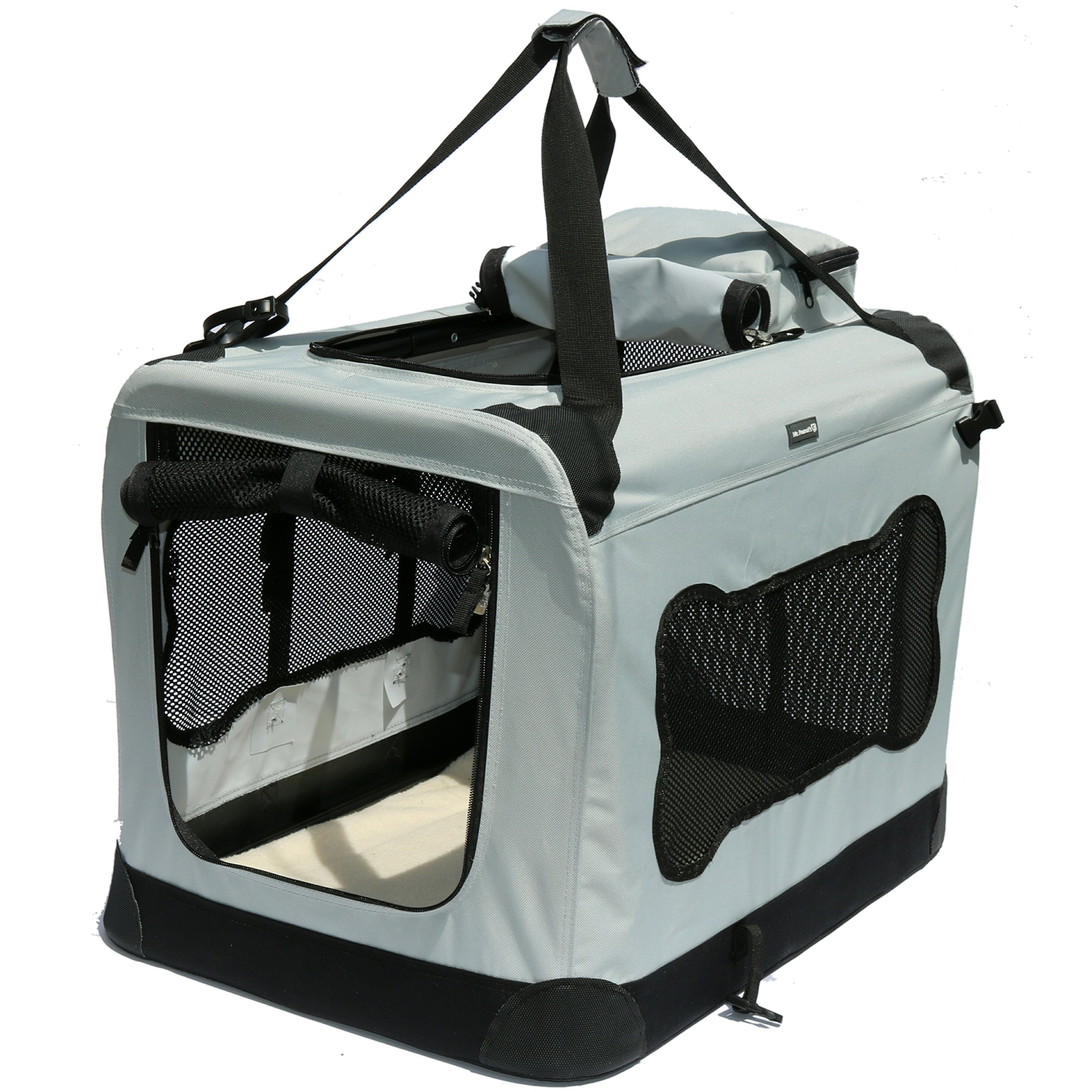 Soft Sided Pet Carrier with Steel Frame - Dog House Style Portable Pet Crate - Cats & Dogs - Designed for Comfort & Safety - Padded Fleece Bedding Washable Fabric Cover Locking Zipper (Twilight Gray)