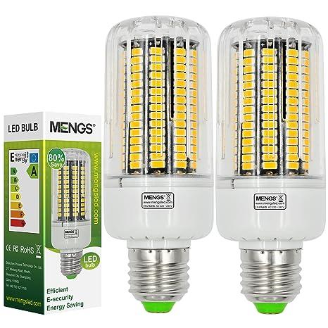 MENGS® 2 unidades E27 20 W LED Bombilla Blanco frío 6500 K AC 220 – 240 V 165 x 5736 SMD con placa de aluminio y PC Material