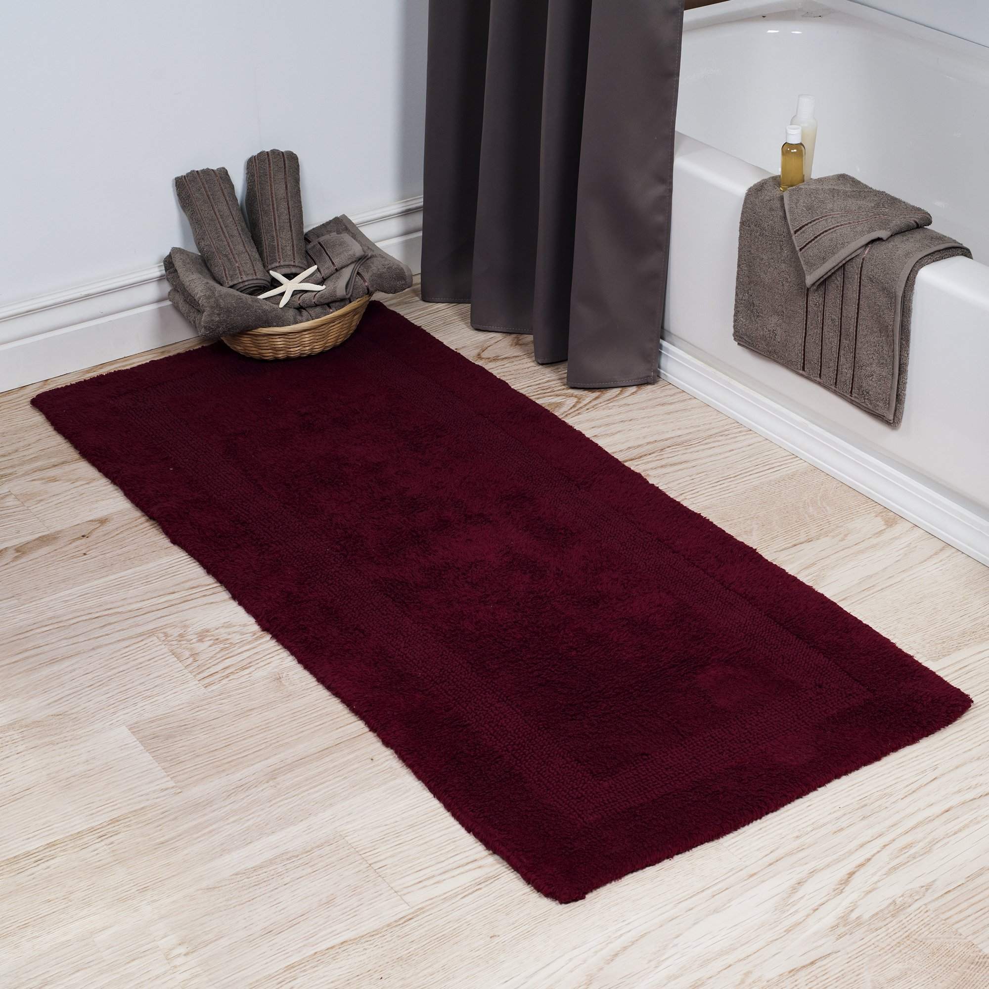 Lavish Home Cotton Bath Mat- Plush 100 Percent Cotton 24x60 Long Bathroom Runner- Reversible, Soft, Absorbent, and Machine Washable Rug by (Burgundy)