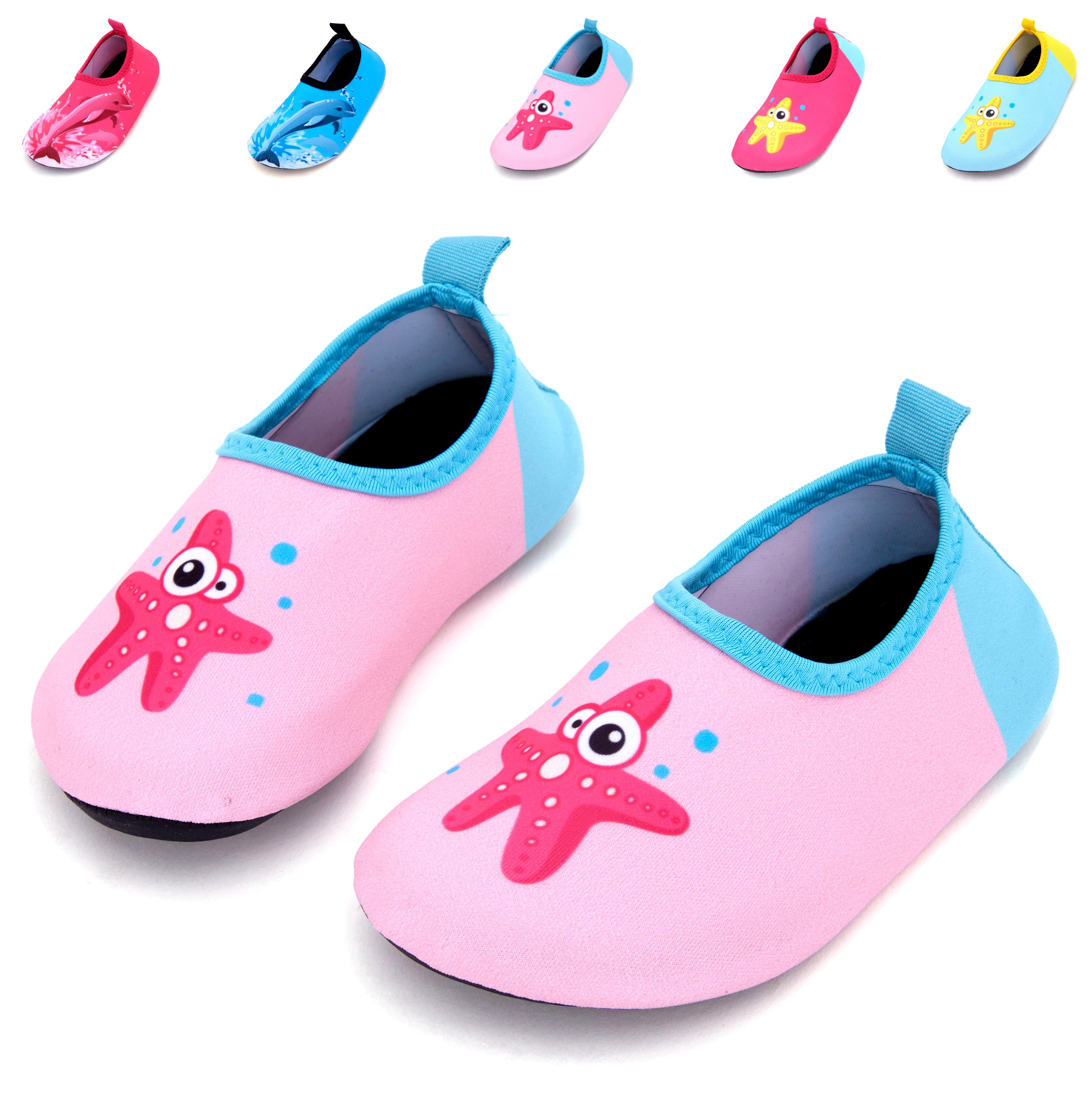 Giotto Kids Swim Water Shoes Quick Dry Non-Slip for Boys & Girls, Pink, 26-27