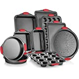Perlli 10-Piece Nonstick Carbon Steel Bakeware Set With Red Silicone Handles | |Metal, Reusable, Quality Kitchenware For…