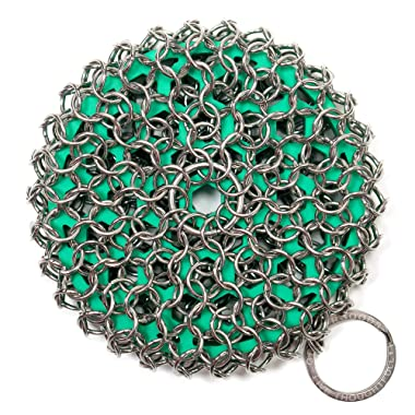 GreaterGoods Cast Iron Chainmail Scrubber, Easy on Your Hands, Dishwasher Safe, Cleaner Scraper & Scrubber for your Cast Iron Skillet, Wok, or Pan