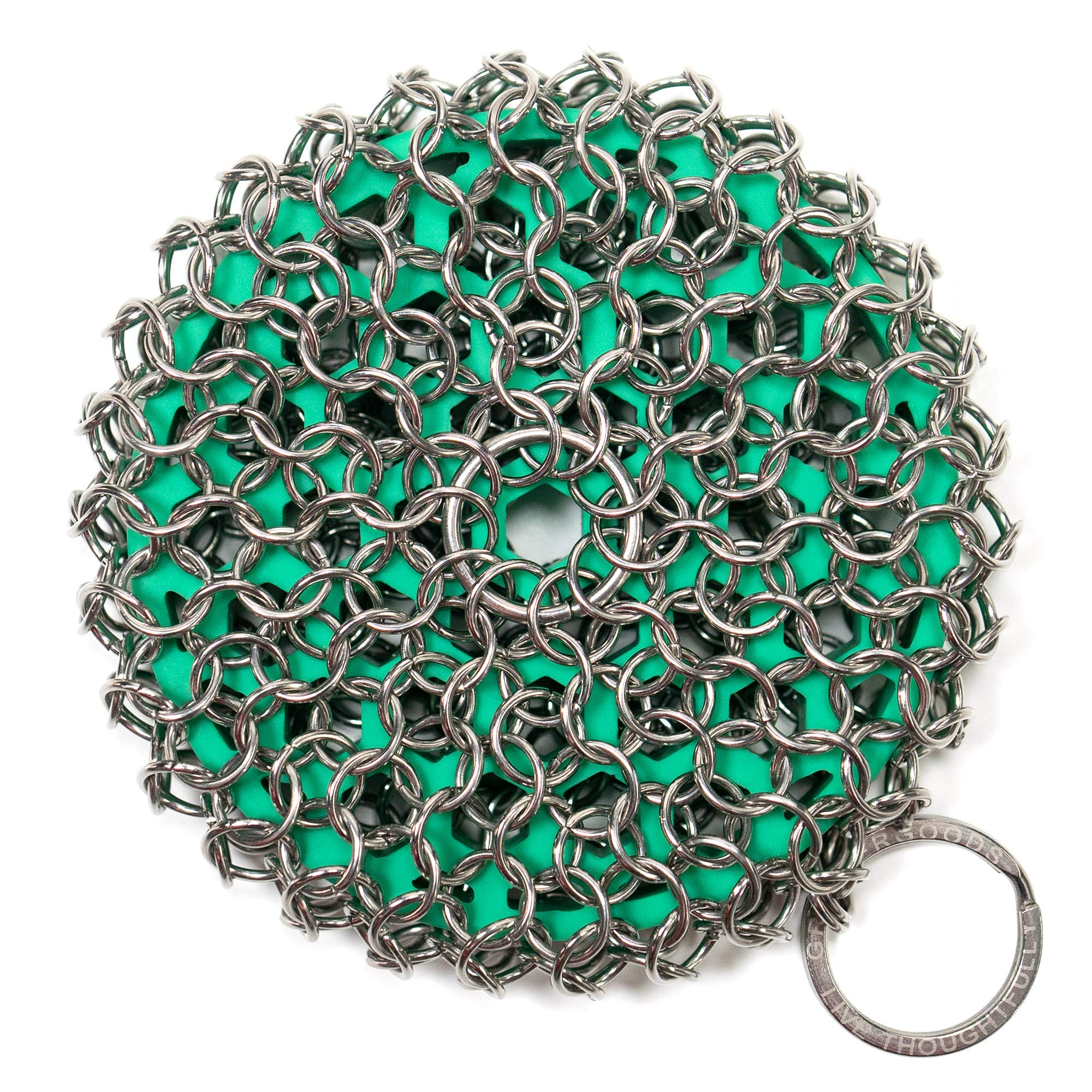 GreaterGoods Cast Iron Chainmail Scrubber, Easy on Your Hands, Dishwasher Safe, Cleaner Scraper & Scrubber for your Cast Iron Skillet