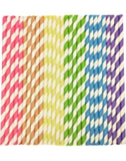 Parxara Straws Paper 150Pcs with Recycled Packaging Biodegradable Bulk Drinking Straws Decorations for Party Birthday Wedding Baby Shower Valentine in Bright Rainbow Color Striped (150Pcs)