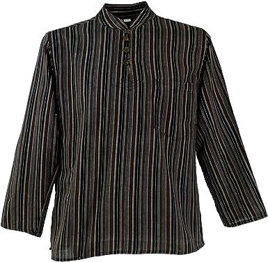 Guru-Shop, Camisa a Rayas Nepal Fisher Goa Camisa Hippie, Marrón, Algodón, Tamaño:44, Camisas de Hombre: Amazon.es: Ropa y accesorios