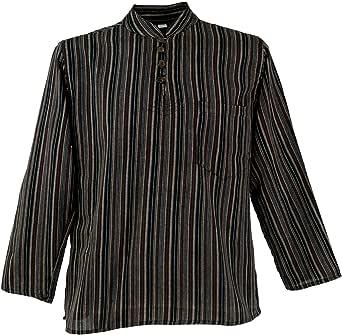 GURU-SHOP Camisa del Pescador de Nepal Camisa a Rayas Goa Hippie, Algodón, Camisas de Hombre
