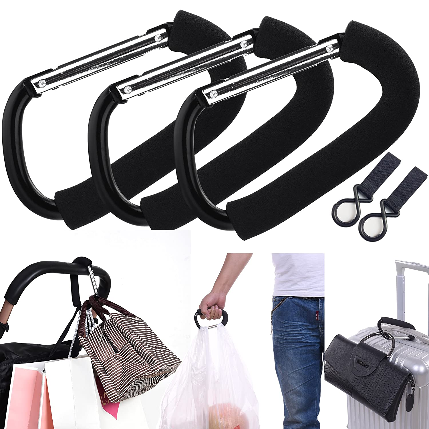 APURSUE 3 Pack X-Large Stroller Hook for Mommy Hanger Organizer Baby Accessories for Hanging Diaper Shopping Bags Purses. Fits Single/Twin Baby Stroller Travel Systems Baby Joggers and Wheelchairs ASET0002