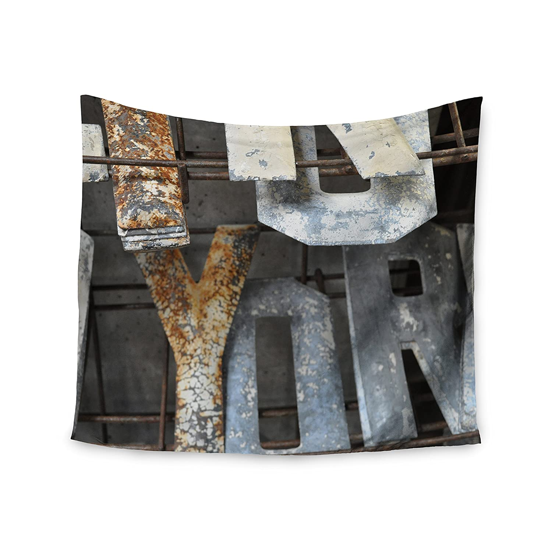 KESS InHouse Jennifer Rizzo Patina Letters Gray Brown Wall Tapestry 68 x 80