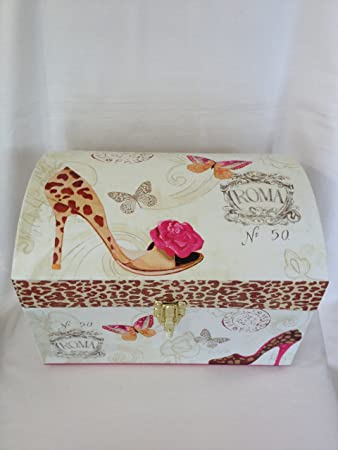 Ivory Hot Pink Brown Paris Theme Decorative Storage Trunk Eiffel Tower  Decorative Storage Box Paris Room