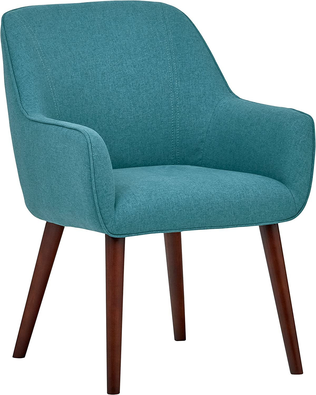 "Rivet Julie Mid-Century Modern Swope Accent Dining Room Table Chair, 23.6""W, Aqua Blue"