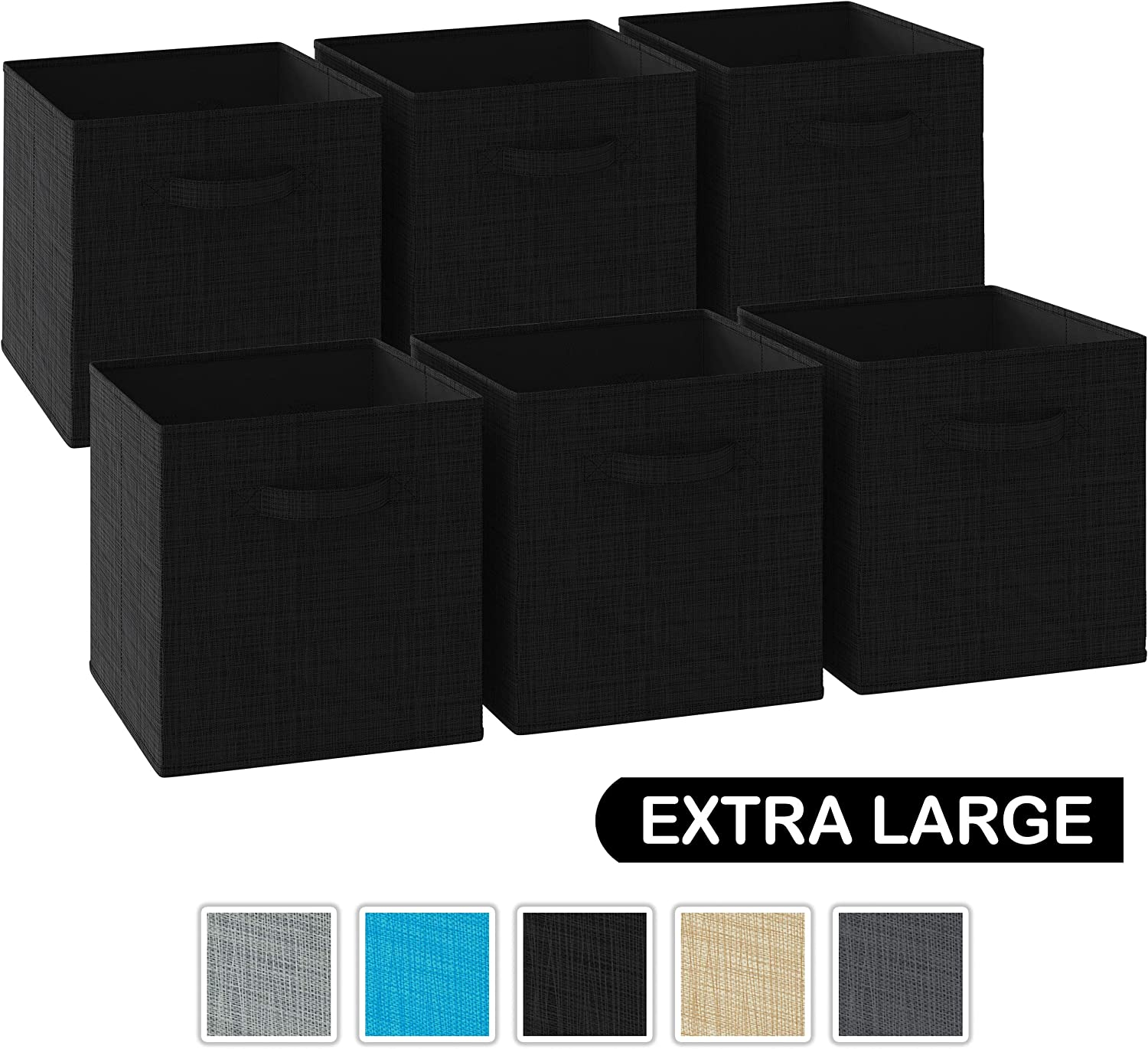NEATERIZE 13x13x13 Large Storage Cubes - Set of 6 Storage Bins | Features Dual Handles | Cube Storage Bins | Foldable Closet Organizers and Storage | Fabric Storage Box for Home and Office (Black)