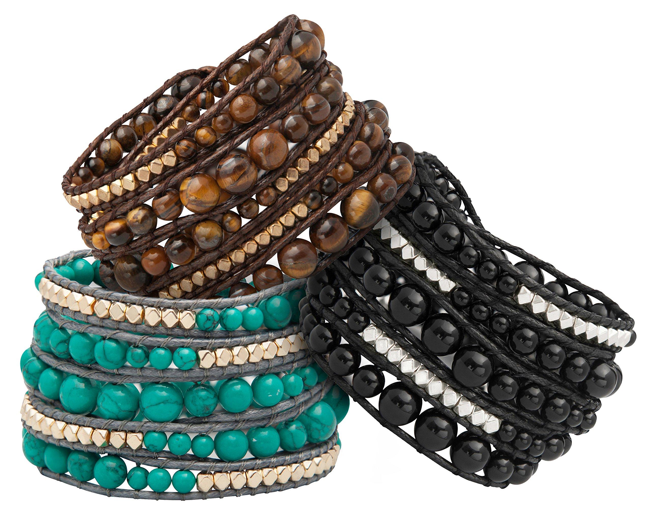 Genuine Stones 5 Wrap Bracelet - Bangle Cuff Rope With Beads - Unisex - Free Size Adjustable (Turquoise) by Sun Life Style (Image #6)