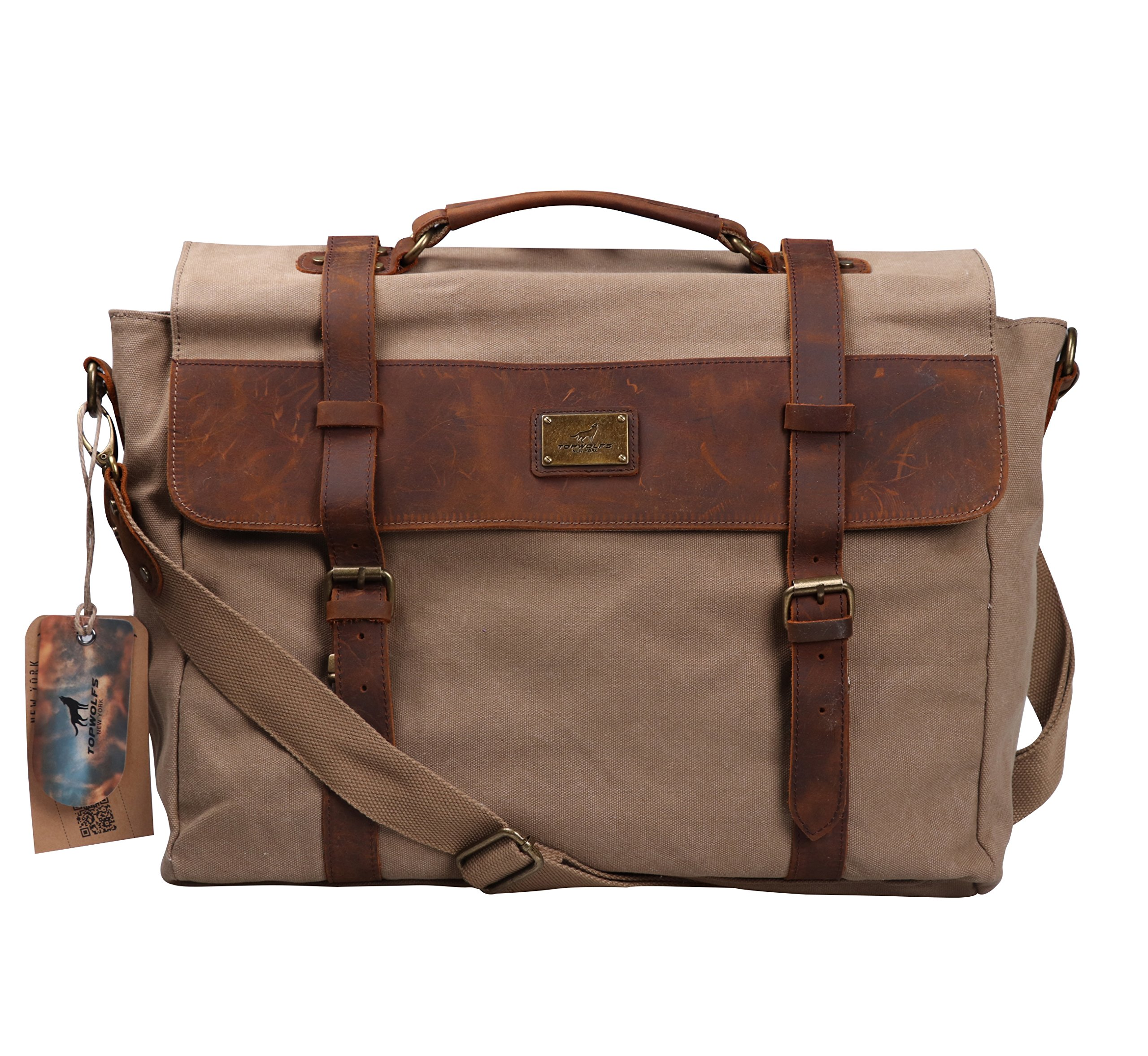 Vintage Messenger Bag 15.6'' Laptop TOPWOLFS Computer Notebook Bag Canvas Briefcase Genuine Leather Handle Shoulder Crossbody Bag Handbag