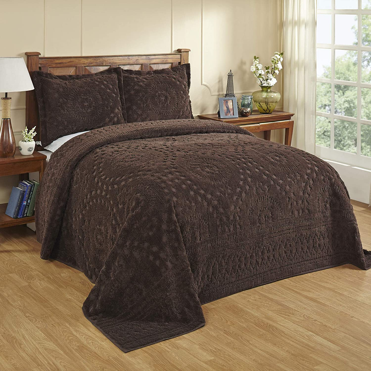 Better Trends Rio Collection is super soft and light weight in Floral Design 100% Cotton Tufted Unique Luxurious Machine Washable Tumble Dry, King Bedspread, Chocolate