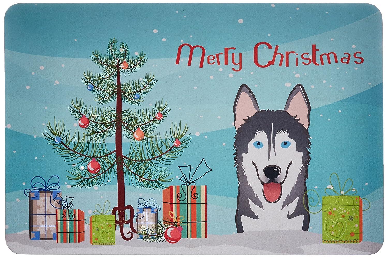 Multicolor 24 by 36 Carolines Treasures BB1590JCMT Christmas Tree and Alaskan Malamute Kitchen or Bath Mat