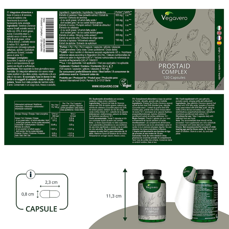 Suplemento para PRÓSTATA Vegavero® | 100% Vegetal | Serenoa Repens (Saw Palmetto) + Semilla de Calabaza + Ortiga Verde + Epilobio | 120 Cápsulas | ...