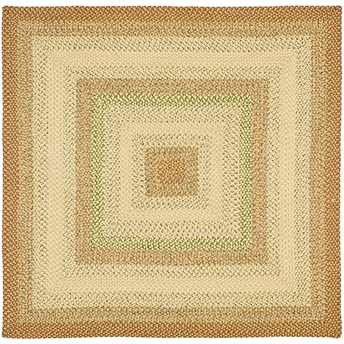 Safavieh Braided Collection BRD303A Hand Woven Rust and Multi Square Area Rug (4 Square)