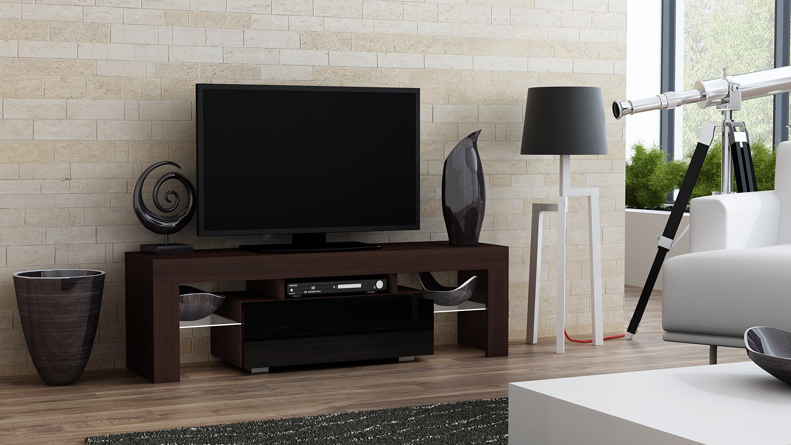 TV Stand MILANO 130 / Modern LED TV Cabinet / Living Room Furniture / Tv Console fit for up to 55'' flat TV screens / Capacity Tv Console for Modern Living Room (Wenge & Black) by Concept Muebles (Image #1)