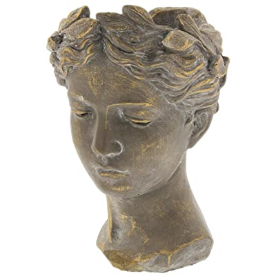 "Lucky Winner Greek/Roman Style Female Statue Head Cement Planter (10.5"") : Garden & Outdoor"