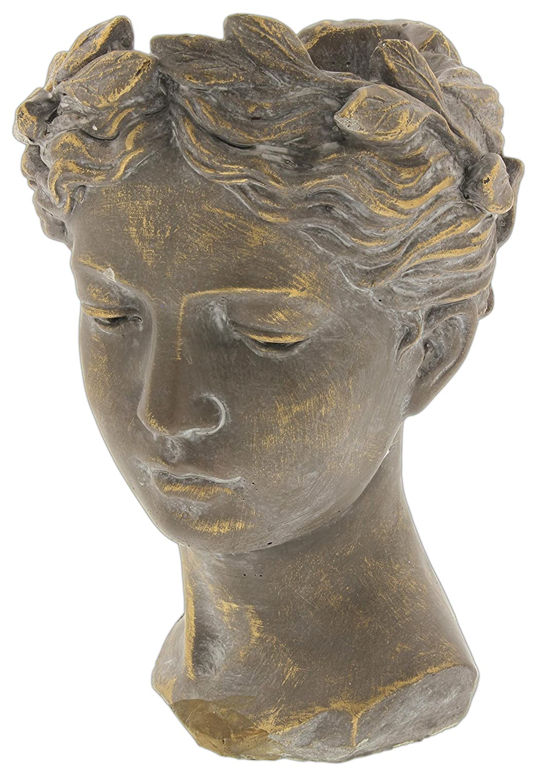 "Lucky Winner Greek/Roman Style Female Statue Head Cement Planter (10.5"")"