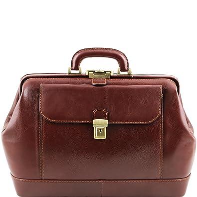 Tuscany Leather Costanzo Exklusive Konferenzmappe aus Leder mit Griff und Ringmechanik Braun