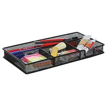 Elegant Black Metal Wire 4 Compartment Office Desk Drawer Organizer Tray / Open  Storage Bin Basket Rack