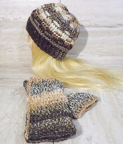 Handmade crochet fingerless gloves and beanie set