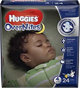 HUGGIES OverNites Diapers, Size 4, 24 ct, JUMBO PACK Overnight Diapers (Packaging May Vary)