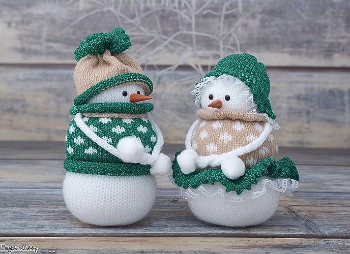 Amazon.com: Christmas decor, knitted snowman, stuffed snowmen ...