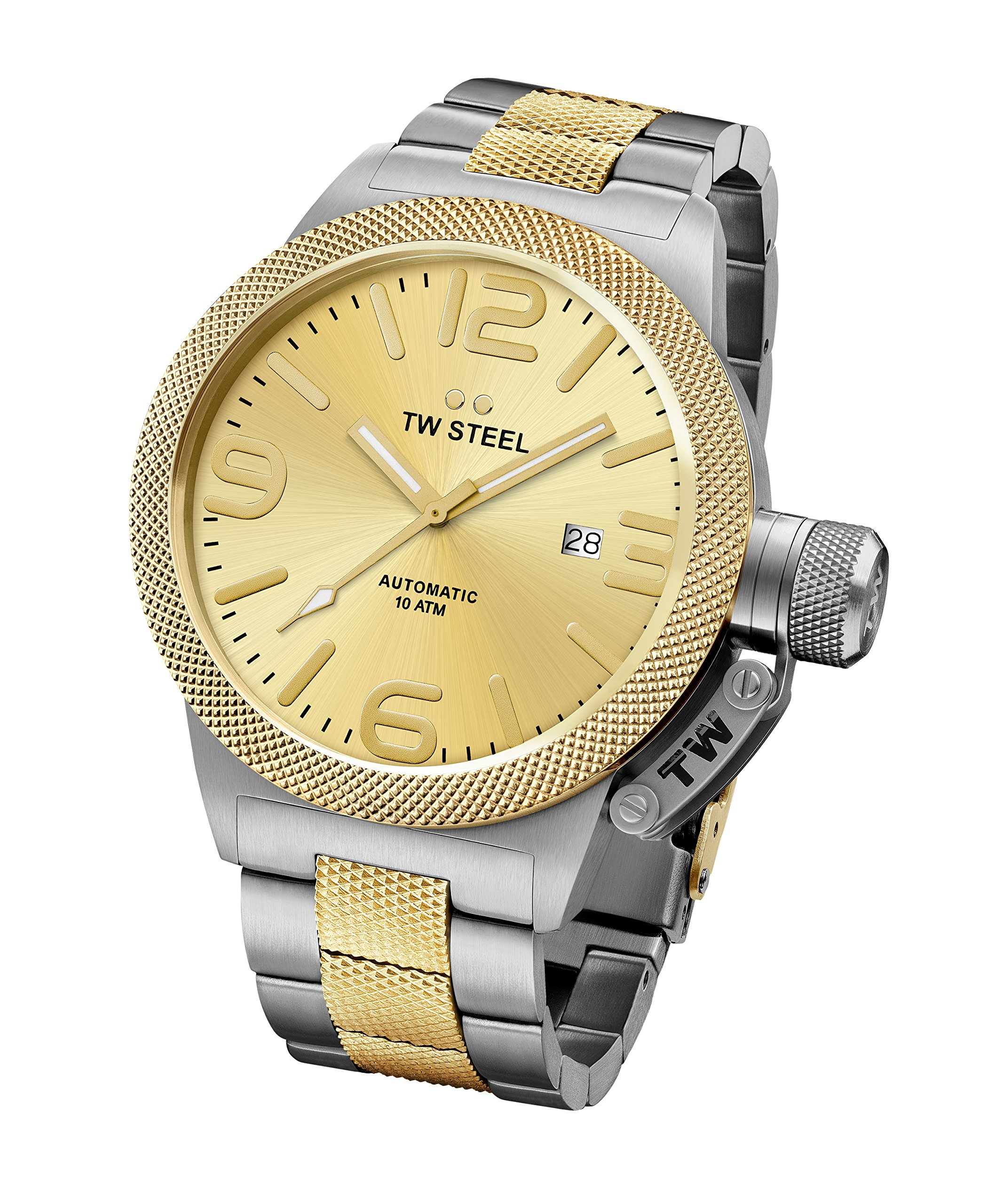 TW Steel CB56 Men's Canteen Bracelet Automatic Gold Dial Two Tone Yellow Gold Steel Watch