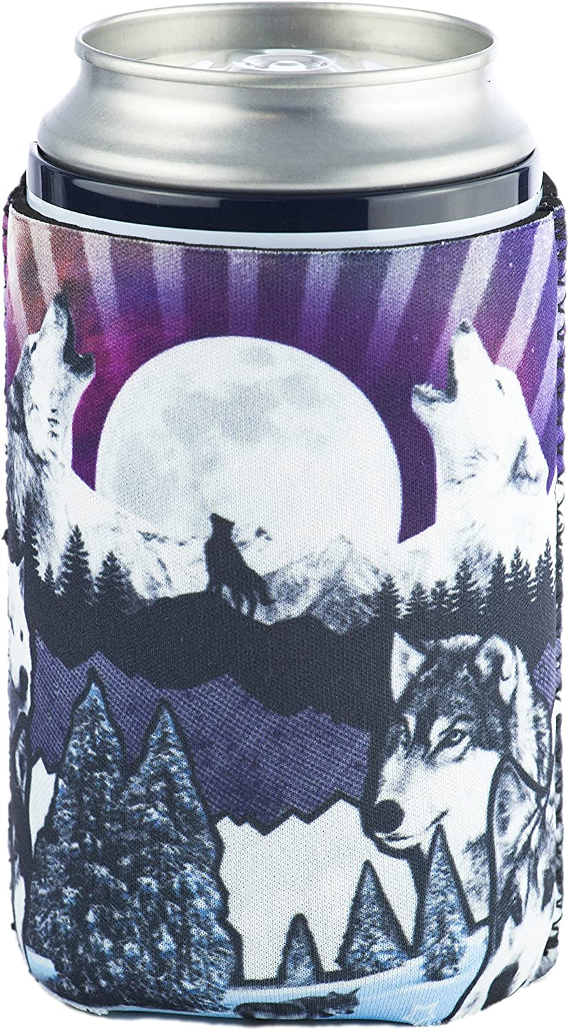 Funny Guy Mugs Wolf Collapsible Neoprene Can Coolie - Drink Cooler