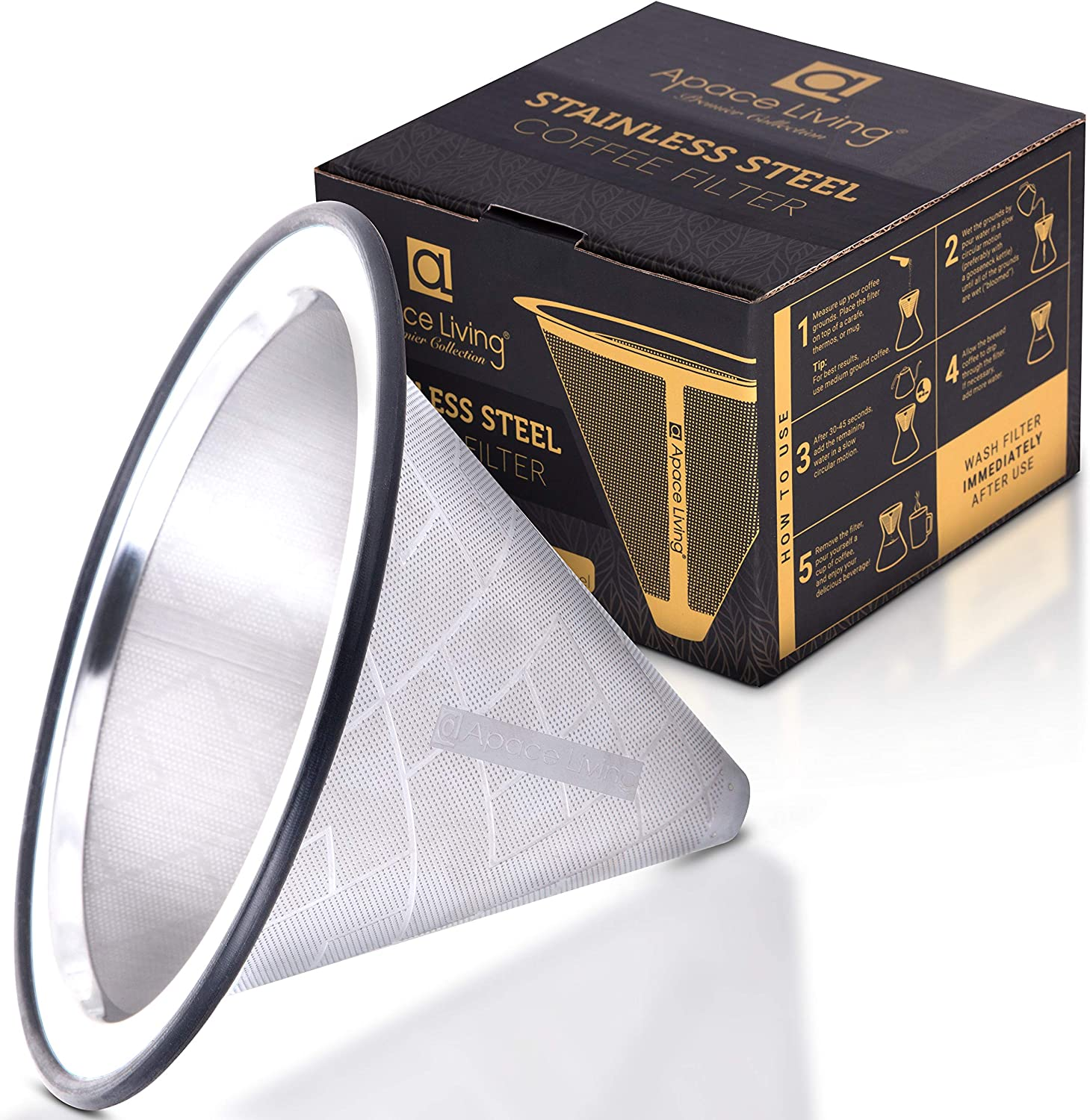 Apace Living Pour Over Coffee Filter - Wide Metal Base Reusable Stainless Steel Coffee Dripper - Perfect for Chemex Hario Bodum & Other Coffee Makers - Paperless Coffee Filter for Sustainable Brewing