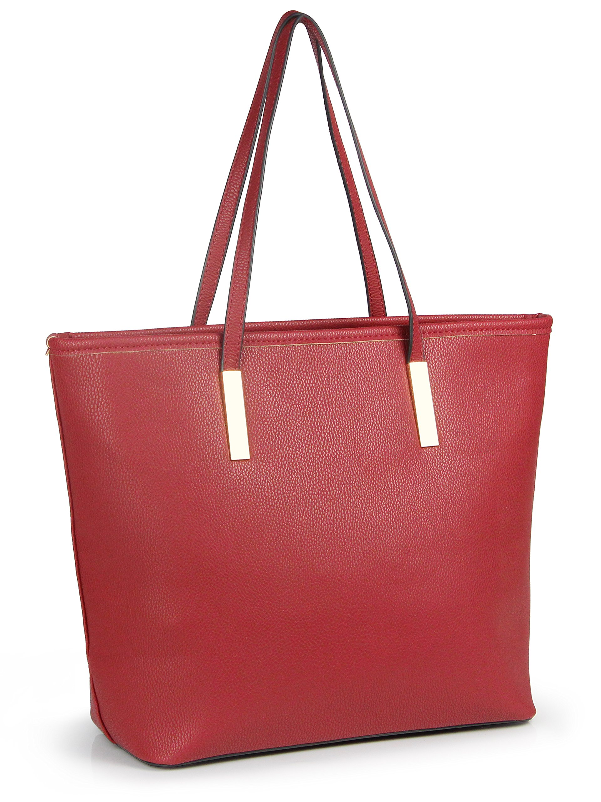 Simple Solid Color Pu Leather Top Handle Satchel Handbags for Women Shoulder Bags (Red)