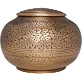 Bronze Antique Brass Funeral Urn by Liliane Memorials - Cremation Urn for Human Ashes - Hand Made in Brass - Suitable for Cemetery Burial or Niche - Large Size fits remains of Adults up to 180 lbs