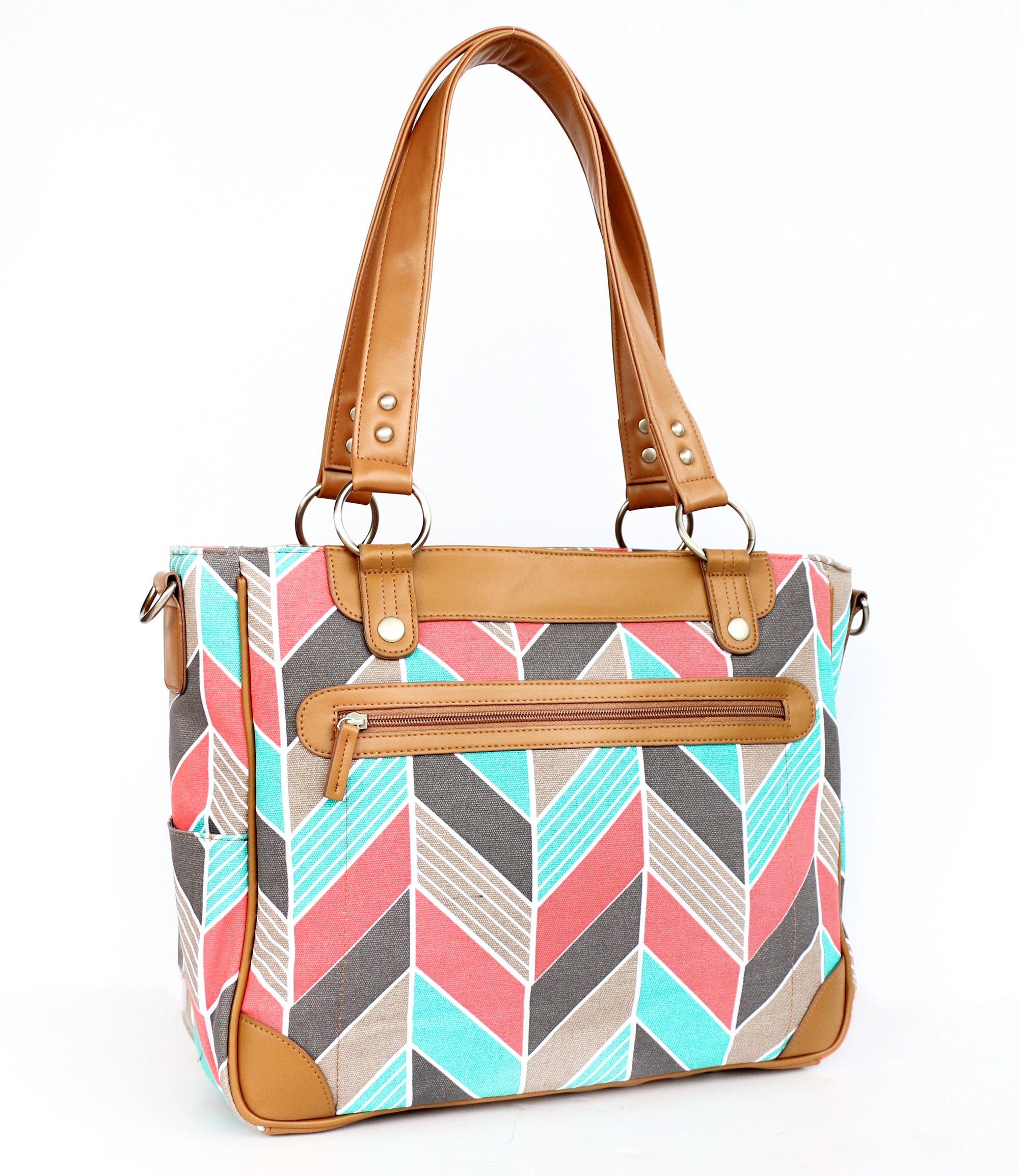 Kailo Chic Camera and Laptop Bag (Coral and Turquoise Herringbone)