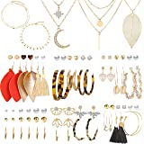 43 Pcs Necklace and Earring Sets for Women Girls Including 38 Pcs Bohemian Leather Tassel Earrings & 5 Pcs Gold Multi…
