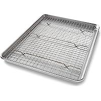 USA Pan Bakeware Quarter Sheet Baking Pan and Bakeable Nonstick Cooling Rack Set, Metal