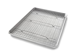USA Pan 1606CR Half Sheet Baking Pan and Bakeable Nonstick Cooling Rack Metal