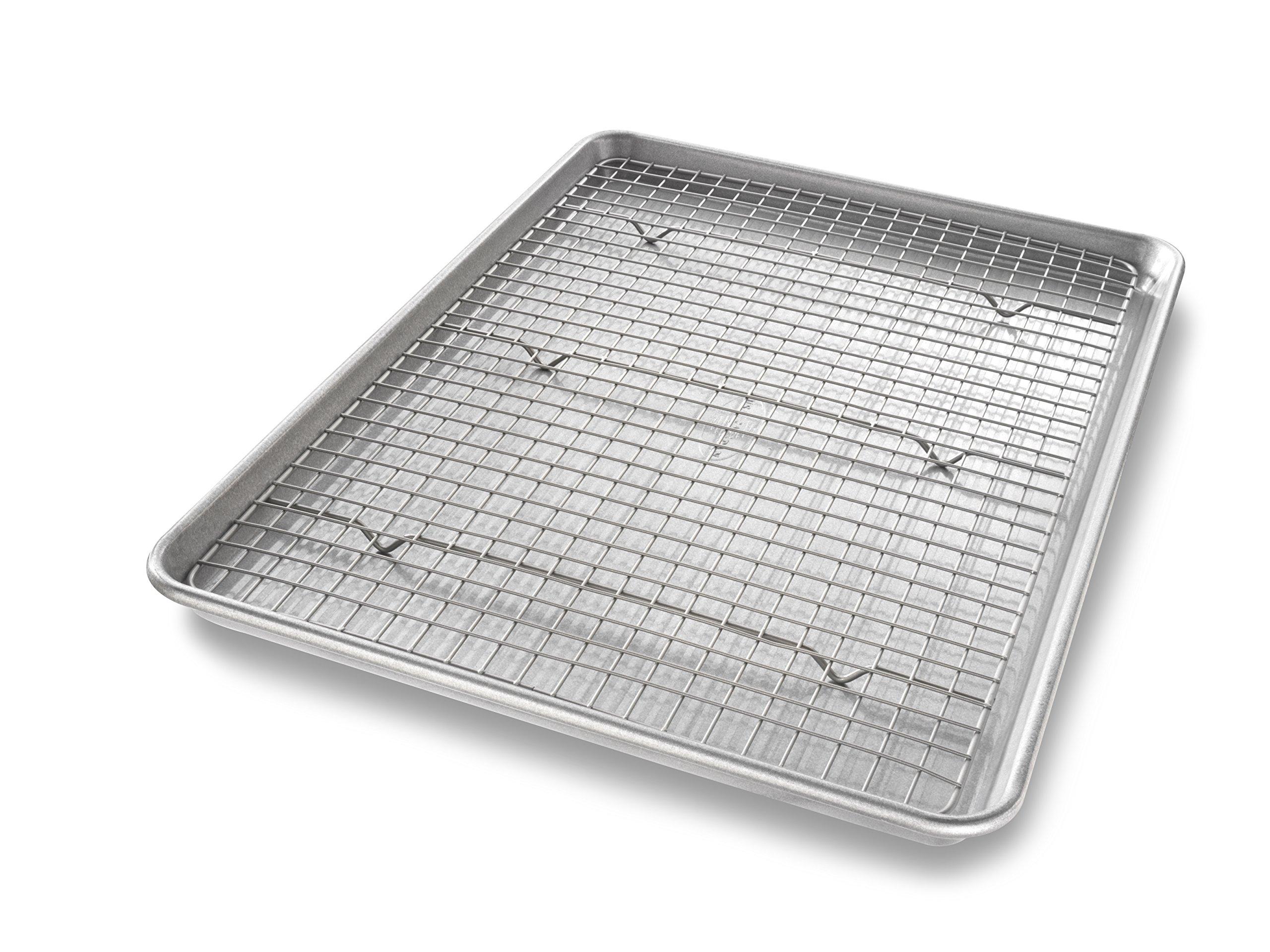 USA Pan 1606CR Half Sheet Baking Pan and Bakeable Nonstick Cooling Rack, Metal by USA Pan (Image #1)