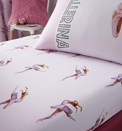 Catherine Lansfield, biancheria per camera da letto, motivo con ballerina,  rosa, Rosa, Doppio