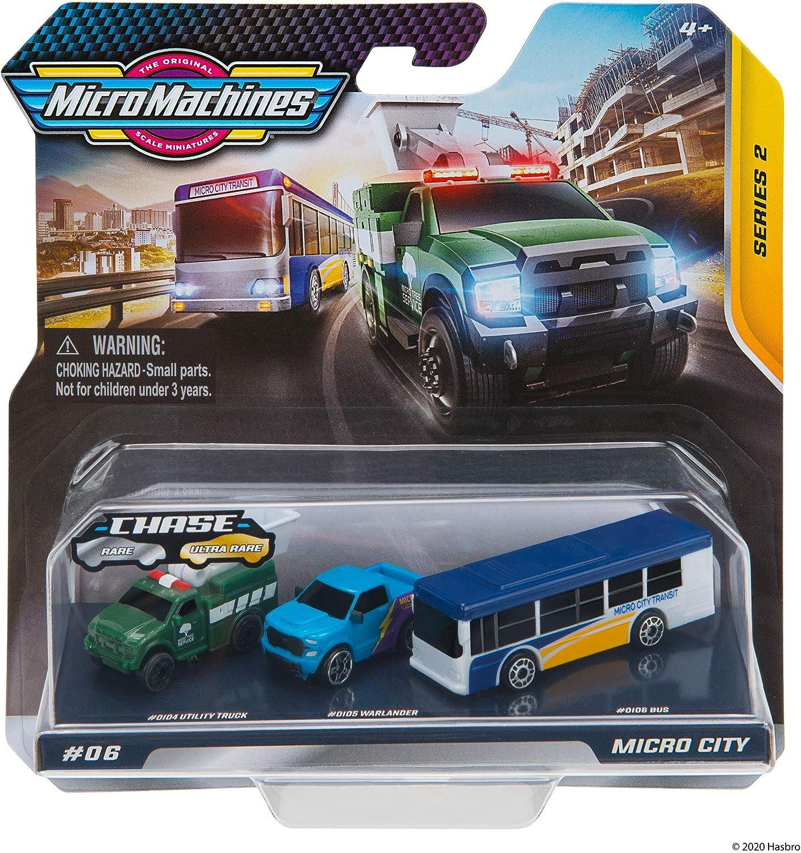 Micro Machines Paquete de Inicio, Ciudad - Incluye 3 vehículos, autobuses y Camiones, Posibilidad de Algo Raro - colección de Coches de Juguete