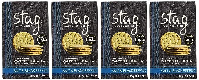 Stag Crackers de Agua con Sal Marina y Pimienta Negra - 4 Paquetes de 150 gr - Total: 600 gr: Amazon.es: Alimentación y bebidas