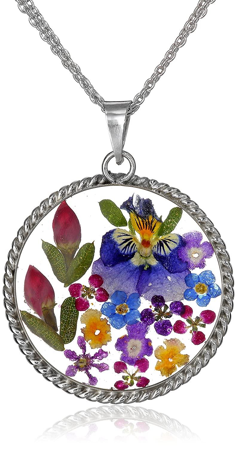 Sterling Silver Pressed Flower Round Pendant Necklace with Twisted Rope Edge