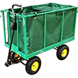 FoxHunter Heavy Duty Extra Large Garden Trolley Cart Wheelbarrow 500kg Max Load With Handle Towing Shackle Plastic Interlinear And Extra Removable Shelf TC1840