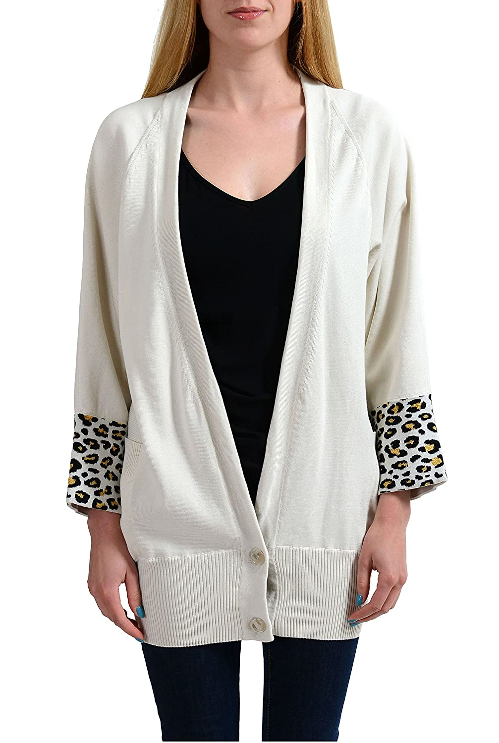 Just Cavalli Ivory Knitted Women's Cardigan Sweater US S IT 40