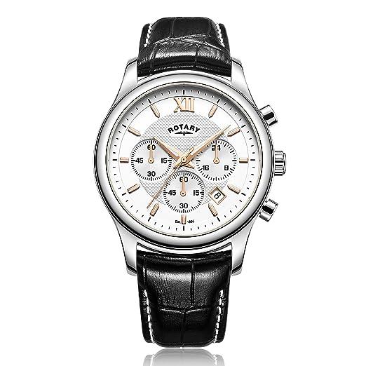 Rotary - Reloj de cuarzo para hombre, correa de cuero, color negro: Amazon.es: Relojes