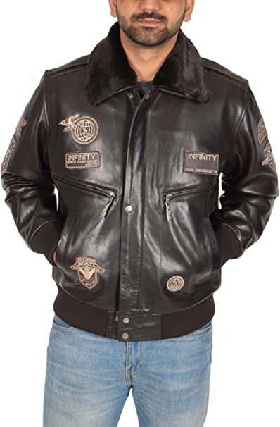 House Of Leather Bomber Giacca Pilota Volante Aviatore di