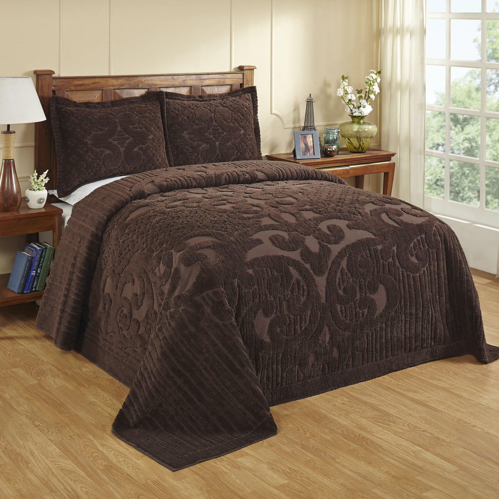 Better Trends/ Pan Overseas BSASQUCH Ashton Bedspread Chocolate/102 x 110''/Queen