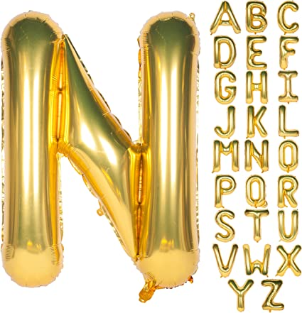 40 Inch Foil Balloons Large Numbers//Letter Balloons Helium in Gold Numbers